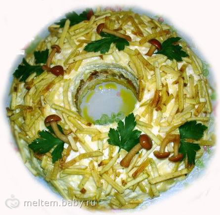 Салат с лесными грибами и курицей рецепт с