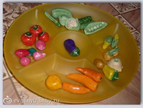 Фрукты и овощи из теста соленого