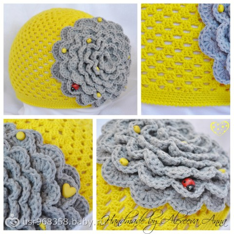 Лимонная шапочка с серым