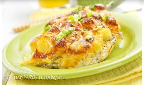 Филе курица с ананасами в духовке рецепт с фото