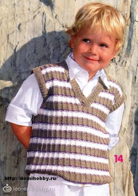 Ваш отзыв вязаный жилет для мальчика спицами Красивая безрукавка для девочки на 4 года связана из 100% мериносовой