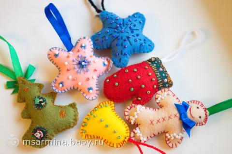 новогодние игрушки из фетра и
