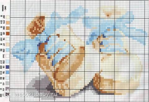 Схема для вышивки крестом пинетки