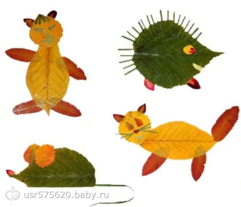 Поделки из природного листья материала