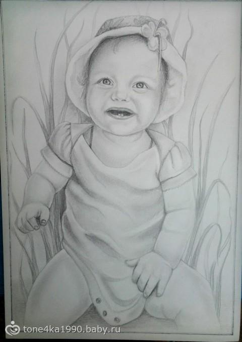 детские портреты карандашом: