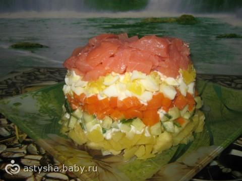Порционный салат икра семга фото