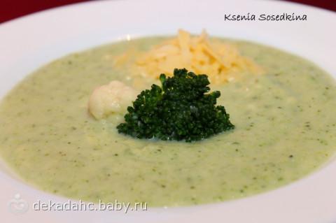 Суп-пюре из брокколи диетический, сырный, сливочный, на