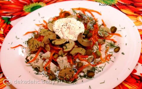 куриный салат с грибами фото рецепт