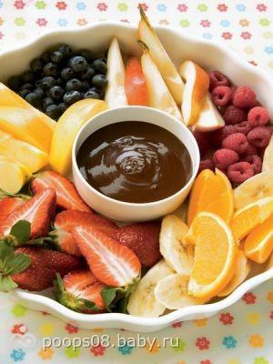 Фондю с шоколадом и фруктами